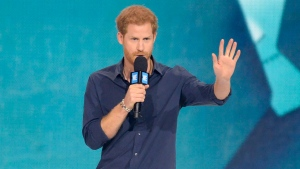 Prince Harry speaks during WE Day Toronto celebrations on Thursday, Sept. 28, 2017. WE Charity is a children's charity founded in 1995 by child's rights advocate Craig Kielburger. (THE CANADIAN PRESS/Nathan Denette)
