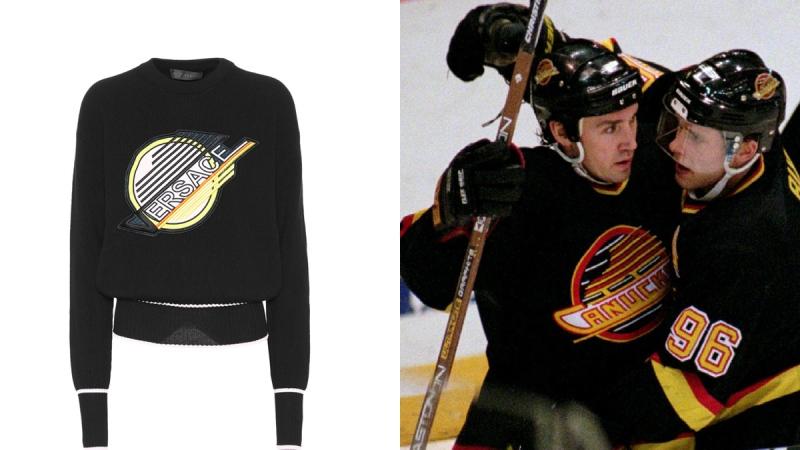 Look familiar? $1200 Versace sweater resembles Canucks jersey