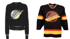 Versace sweater, Canucks jersey
