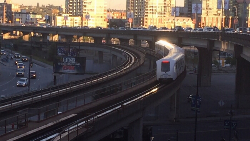 A train travels on the Expo Line on Sept. 27, 2017. (CTV)
