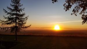 Sunrise over the hills and fog, looking east from Birch Hills (Darren Wilkinson)