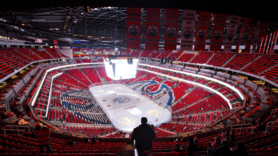 The home of the Edmonton Oilers, Rogers Place, is seen on opening night before the Oilers take on the Calgary Flames in Edmonton, Alta., on Wednesday, Oct. 12, 2016. (Jason Franson / THE CANADIAN PRESS)