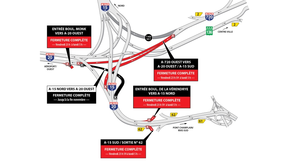 Turcot closures for the weekend of Sept. 29, 2017