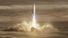 Artist's rendering of SpaceX's new mega-rocket