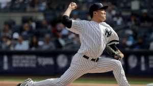 New York Yankees pitcher Masahiro Tanaka delivers against the Toronto Blue Jays during the sixth inning of a baseball game, Friday, Sept. 29, 2017 in New York. (Julie Jacobson/AP Photo)