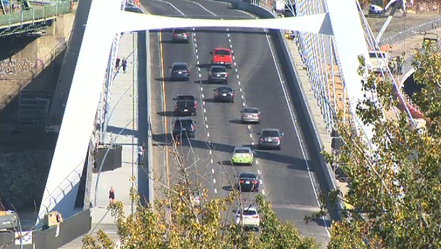 Drivers on the new Walterdale Bridge had three lanes available to them starting Friday, September 18, 2017.