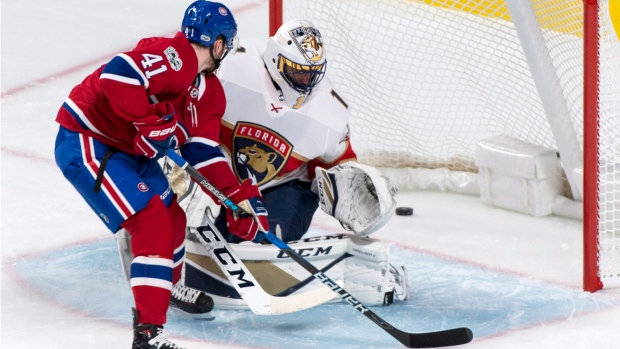 Montreal Canadiens centre Paul Byron scores on Florida Panthers goalie Roberto Luongo on Friday, September 29, 2017. THE CANADIAN PRESS/Paul Chiasson