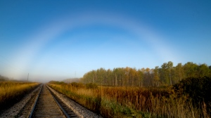 A Friday fogbow in Ross, Manitob. Photo by Karen Hase.