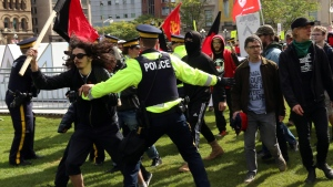 Anti-fascist demonstrators