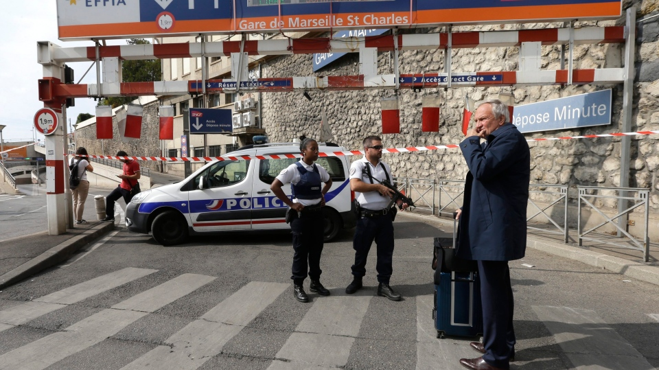 French police officers patrol outside the Marseille railway station, Sunday, Oct. 1, 2017. (AP / Claude Paris)
