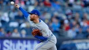 Toronto Blue Jays relief pitcher Danny Barnes delivers during the seventh inning of a baseball game against the New York Yankees in New York, Sunday, Oct. 1, 2017. Barnes was the winning pitcher as the Blue Jays topped the Yankees in their final game, 2-1. (AP Photo/Kathy Willens)