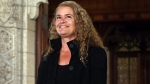 Former astronaut, and Governor General designate, Julie Payette, smiles on Parliament Hill, in Ottawa, after she was introduced as Gov. Gen. designate, Thursday, July 13, 2017. (Fred Chartrand / THE CANADIAN PRESS)