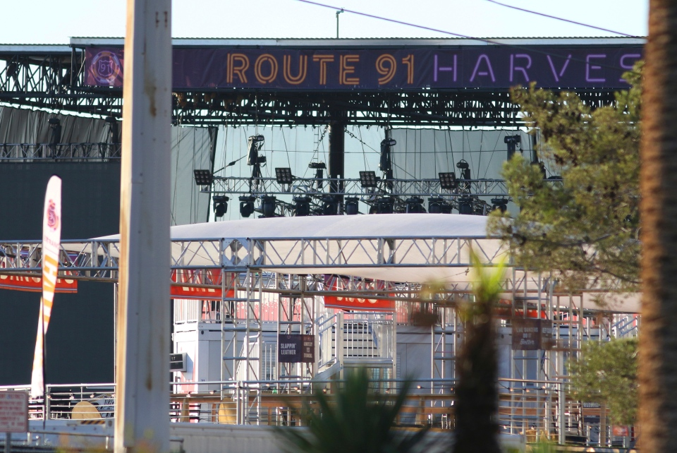 A sign hangs at the Route 91 Harvest Music Festival venue Monday, Oct. 2, 2017, in Las Vegas. (AP / Ronda Churchill)