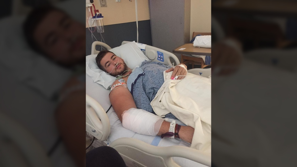 Sheldon Mack, 21, is recovering in a Las Vegas hospital after Sunday night's shooting. (Hudson Mack)