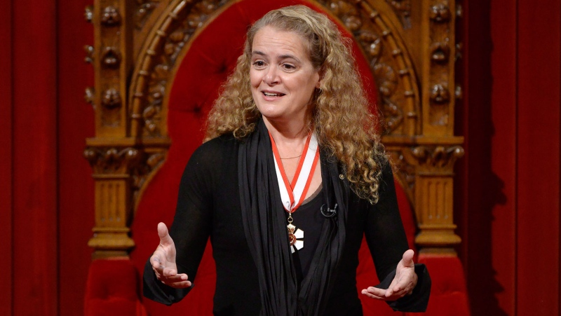 Julie Payette makes her first speech as Canada's 29th Governor General from her seat in the Senate chamber during her installation ceremony, in Ottawa on Monday, October 2, 2017. (THE CANADIAN PRESS/Adrian Wyld)