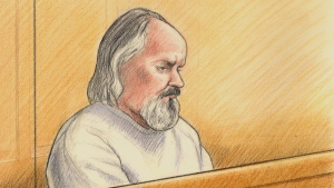 Artist sketch of Basil Borutski as seen in an Ottawa courtroom on Monday, Oc.t 2, 2017. Borutski is on trial for three first-degree murder charges in the deaths of Carol Culleton, 66, Anastasia Kuzyk, 36, and Nathalie Warmerdam, 48, whose bodies were found in separate crime scenes in and around Wilno, Ont., on Sept. 22, 2015. (Credit: Lauren Foster-MacLeod)