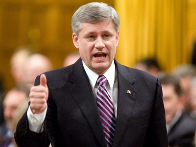 Prime Minister Stephen Harper speaks during question period in the House of Commons on Parliament Hill in Ottawa on Thursday, April 23, 2009. (Sean Kilpatrick / THE CANADIAN PRESS)