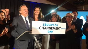 "Francois Legault describes Genevieve Guilbault as a ""political star"" who succeeded in taking a ""Liberal fortress."" (CTV Montreal/Maya Johnson)"