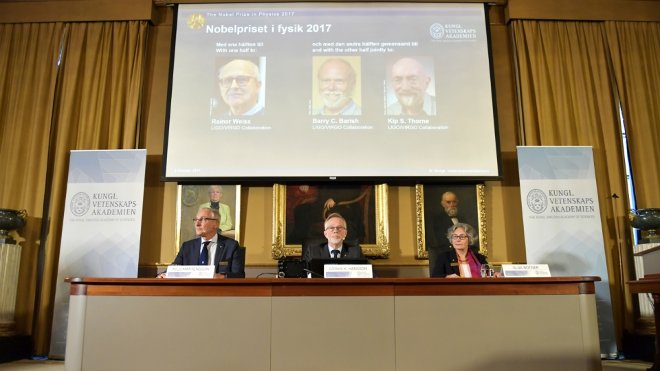 Nobel physics prize awarded to scientists for work on gravity waves