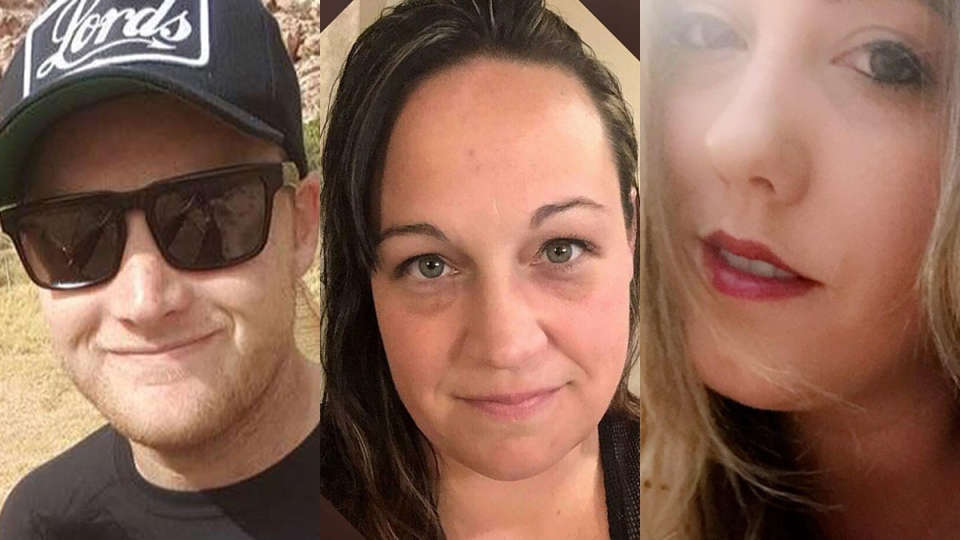 Jordan McIldoon, left to right, Jessica Klymchuk and Calla Medig, Canadians killed in the Las Vegas attack, are shown in this composite image of photos from Facebook.