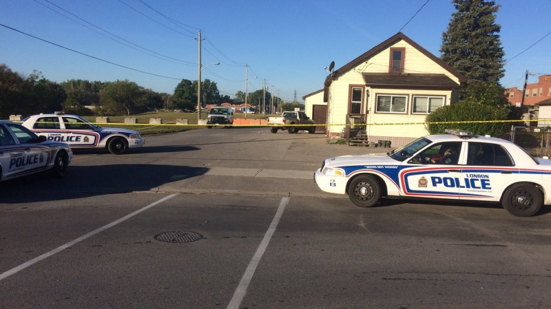 London police are investigating a homicide on Lansdowne Avenue in London, Ont., on Tuesday, Oct. 3, 2017. (Sean Irvine / CTV London)