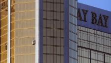 Drapes billow out of a broken window in Las Vegas