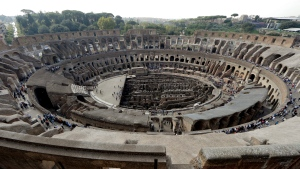 A view of the ancient Colosseum as seen from the topmost level, on the occasion of a media tour presenting the re-opening after forty years of the fourth and fifth level of the Italy's most famous site, in Rome, Tuesday, Oct. 3, 2017. (AP Photo/Andrew Medichini)