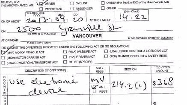 A distracted driving ticket is seen in this social media image from the Vancouver Police Department.