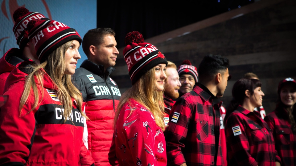 Olympic hopefuls for 2018 show off Hudson Bay Company's new line of Olympic gear at the Eaton Centre in Toronto on Tuesday, Oct. 3, 2017. (THE CANADIAN PRESS/Chris Donovan)