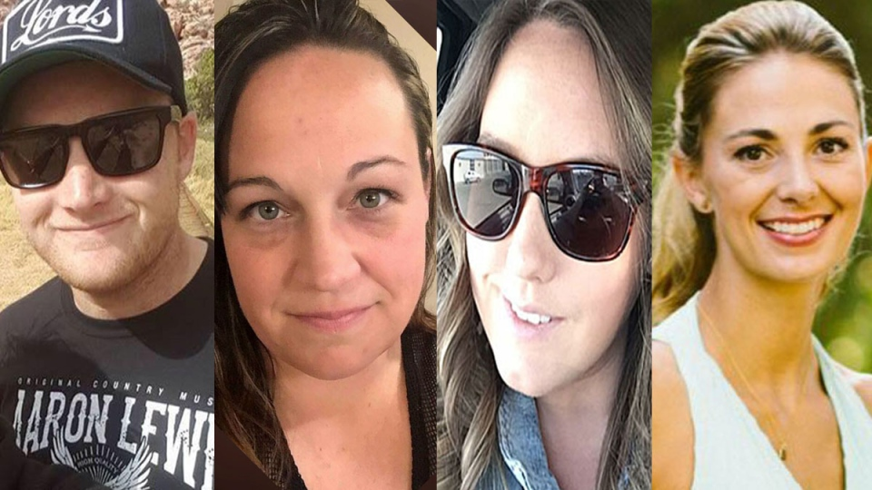 Jordan McIldoon, left to right, Jessica Klymchuk, Calla Medig, and Tara Roe, Canadians killed in the Las Vegas attack, are shown in this composite image of photos from Facebook.