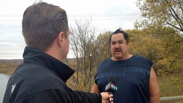 Edward Aisaican initially spotted the dead fish on Sunday. (COLE DAVENPORT/CTV YORKTON)