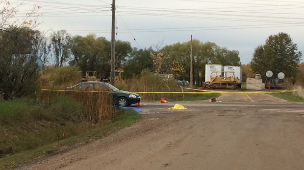 RCMP investigation scene at the intersection of Provincial Road 502 and Edward Crescent. (Beth Macdonell/CTV News)
