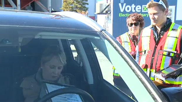 City officials say the drive up voting option makes it easy and convenient for Calgarians to cast their ballots in the municipal election.