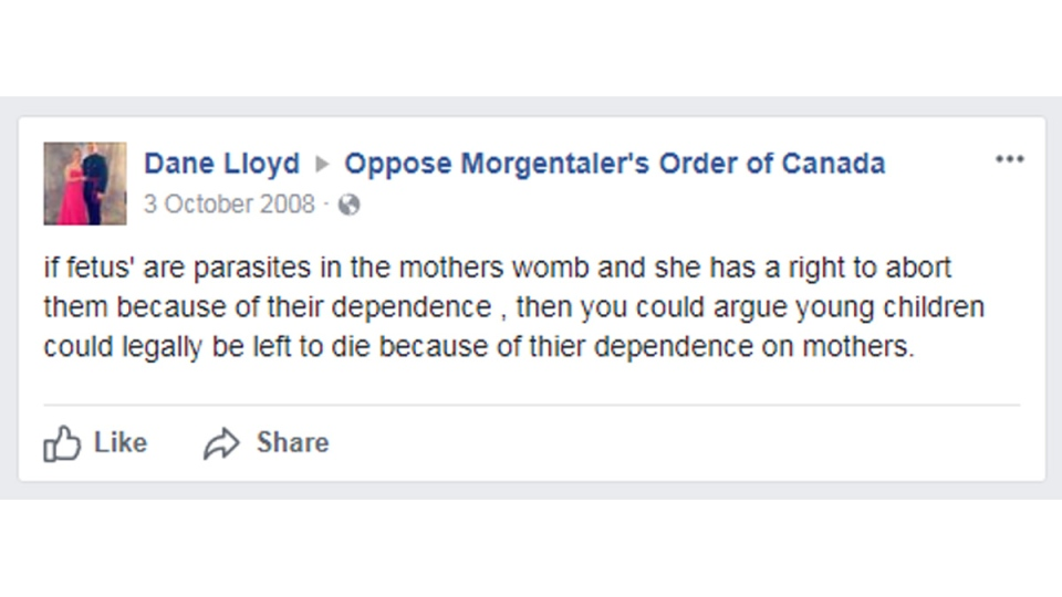 Dane Lloyd's Facebook post from 2008.