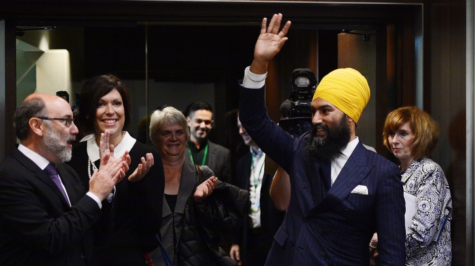 NDP Leader Jagmeet Singh arrives to his first caucus meeting since being elected to the leadership of the New Democrats, in Ottawa on Wednesday, October 4, 2017. (Sean Kilpatrick / THE CANADIAN PRESS)