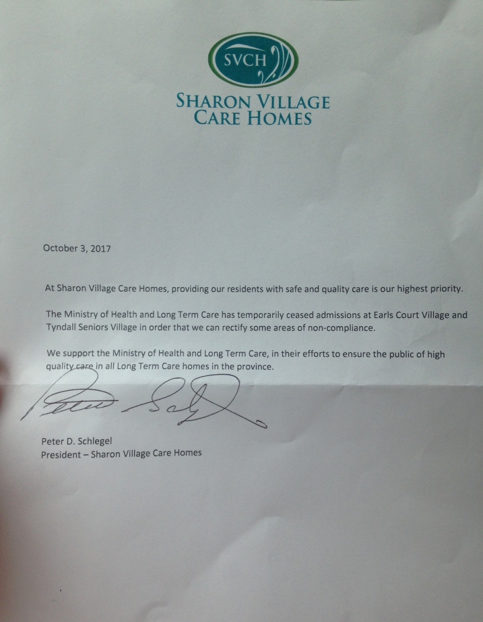 Letter from Sharon Village Care Homes on Oct. 3, 2017