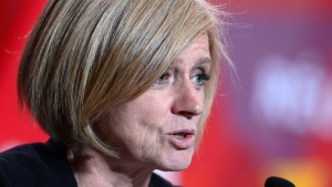 Alberta Premier Rachel Notley speaks as she joins fellow leaders in a press conference following the First Ministers Meeting in Ottawa on Tuesday, Oct. 3, 2017. (THE CANADIAN PRESS/Sean Kilpatrick)