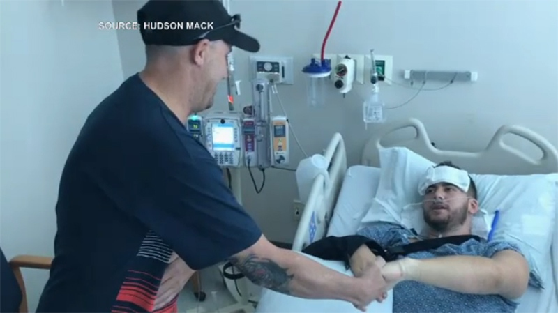 Mack was also reunited with Eric Fraser, who drove the injured Victoria man to a Las Vegas hospital so he could be treated for two gunshot wounds. Oct. 4, 2017. (Courtesy Hudson Mack)