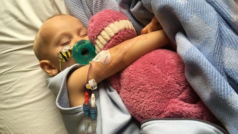 Aubrey Hirsch rests at BC Children's Hospital.