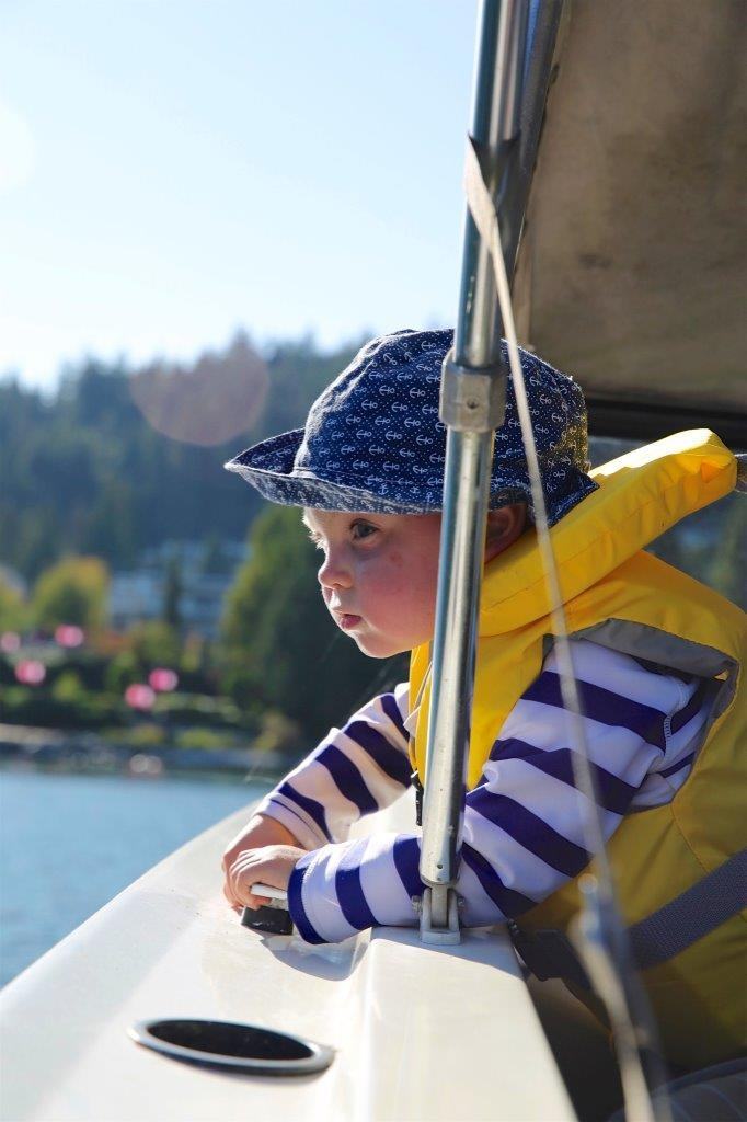 Aubrey is pictured on a boat in the summer of 2017, after recovering from leukemia.