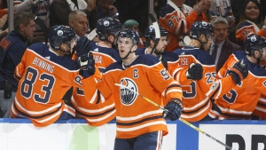 Edmonton Oilers' Connor McDavid celebrates his goal against the Calgary Flames during first period NHL action in Edmonton, Alta., on Wednesday, Oct. 4, 2017. (Jason Franson / THE CANADIAN PRESS)