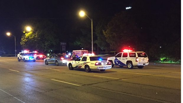 Police are searching for a vehicle that left the scene of a North York collision that left one pedestrian dead. (Mike Nguyen/ CP24)