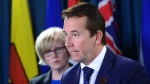 Scott Brison, President of the Treasury Board of Canada delivers remarks and answer questions from the media regarding an update on the Phoenix pay system on Parliament Hill in Ottawa on Thursday, Oct. 5, 2017. (Sean Kilpatrick / THE CANADIAN PRESS)