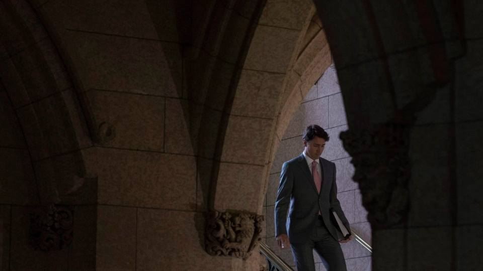 Canadian Prime Minister Justin Trudeau makes his way to Question Period in the House of Commons, Wednesday, October 4, 2017 in Ottawa. (Adrian Wyld / THE CANADIAN PRESS)