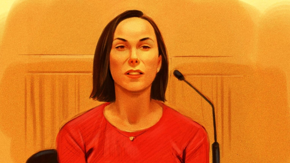 Amanda Lindhout is shown in a court sketch on Thursday, Oct. 5, 2017. (Greg Banning / CTV)