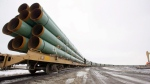 Pipeline construction materials are shown in this file photo. (Grand Forks Herald / Eric Hylden)