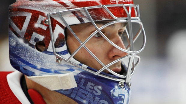 Carey Price concentrates as the Canadiens begin their first game of the  2017-18 season in Buffalo 006c92eaf