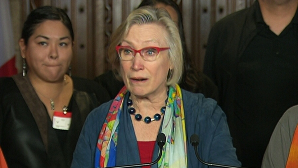 Indigenous Relations Minister Carolyn Bennett speaks in Ottawa announcing a settlement for Sixties Scoop survivors.