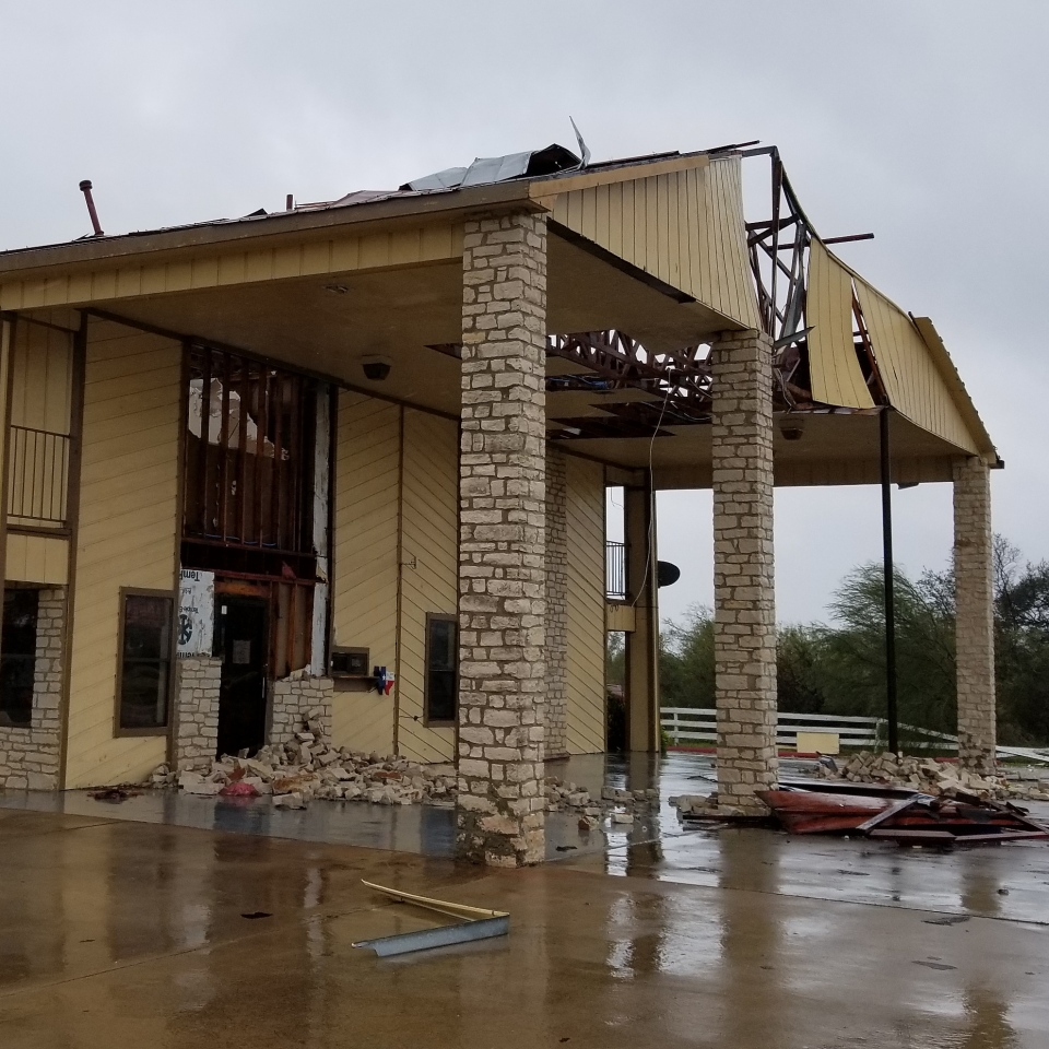 Bricks ripped from a hotel in Refugio, Texas during Hurricane Harvey (Paul Haber / W5)
