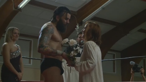 Eric Doucet of Moncton tackled his own wedding Thursday night, marrying his bride in the ring in front of family, friends and wrestling fans.
